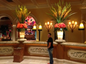 Nick in front of gorgeous florals @Bellagio