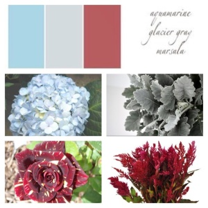 Light Blue Hydrangea, Dusty Miller, Hocus Pocus Rose, Feather Celosia